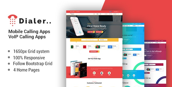 Dialer -VoIP Mobile Calling Apps HTML Templates - Site Templates