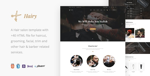 Hairy - Barbershop & Hair Salon HTML Template - Health & Beauty Retail