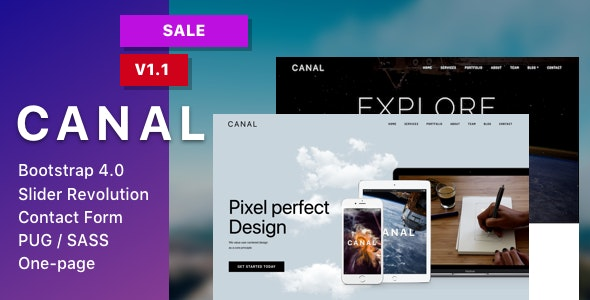 Canal - Single page HTML Template - Creative Site Templates