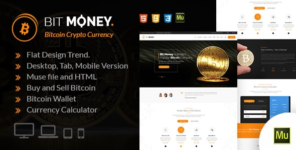 Bit Money - Bitcoin Crypto Currency Muse Template - Corporate Muse Templates