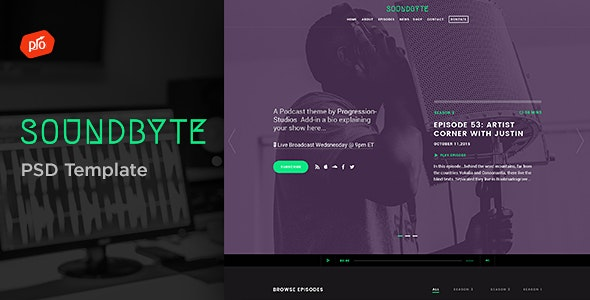 Soundbyte - Podcast/Audio PSD Template - Film & TV Entertainment
