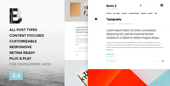 Basic 3 - One Column, Blogging Tumblr Theme - Blog Tumblr