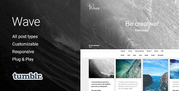 Wave   Grid-based, Responsive Portfolio Tumblr Theme
