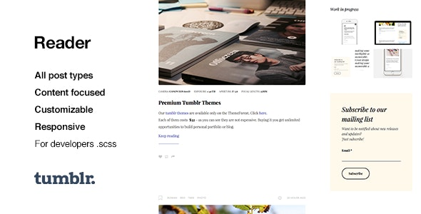 Reader | Responsive Blogging Tumblr Theme - Blog Tumblr