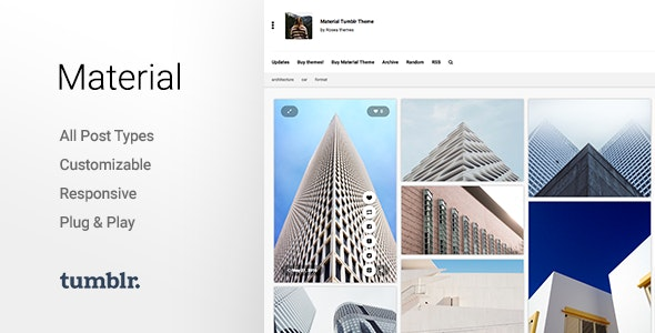 Material | Responsive, Full Width, Grid Tumblr Theme for Photographers - Blog Tumblr