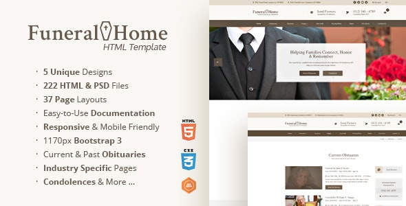 Funeral Home - Memorial Service & Church HTML Template - Business Corporate