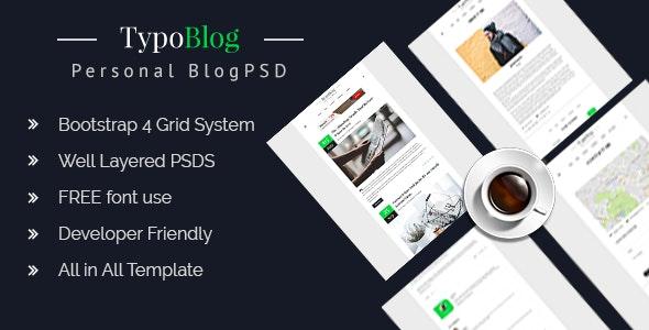 Typoblog - Personal Blog PSD Template - Travel Retail