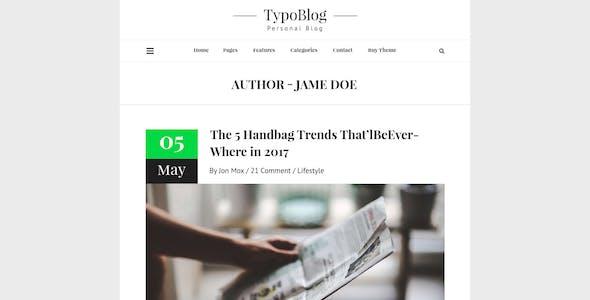 Typoblog - Personal Blog PSD Template