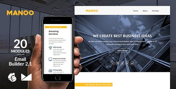 Manoo Email Template + Online Emailbuilder 2.1 - Newsletters Email Templates