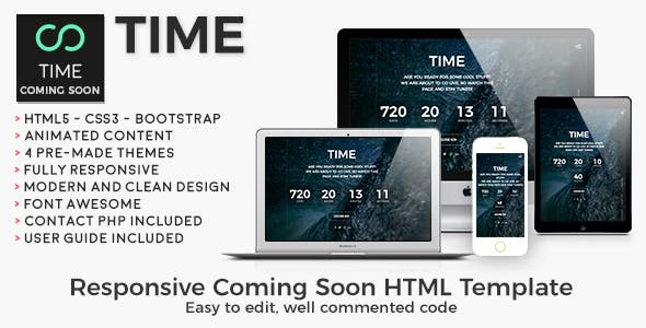 Time - Animated Coming Soon HTML/CSS Website Template