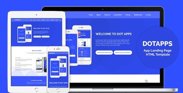 Dotapps - App Landing Page HTML Template - Technology Site Templates
