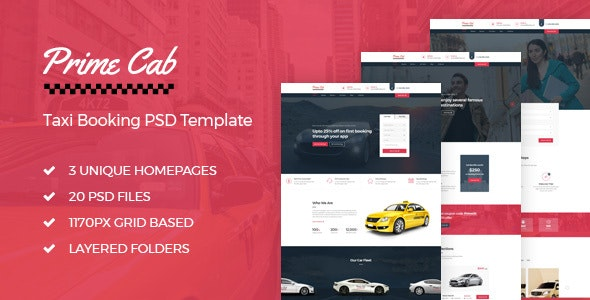 Prime Cab - Taxi Booking PSD Template - Business Corporate