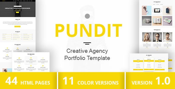 PUNDIT - Creative Agency Portfolio Template - Virtual Business Card Personal