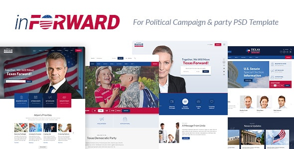 inForward - Political Campaign, Party, Nonprofit PSD Template - Political Nonprofit