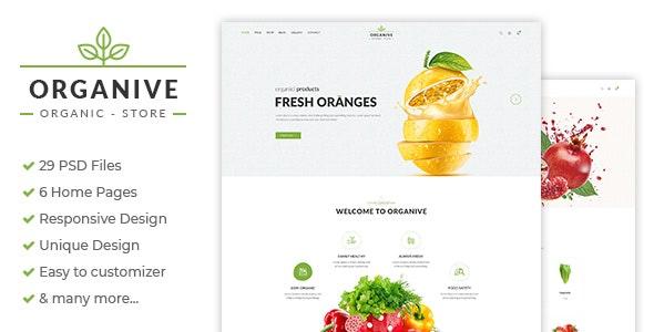 Organive - Organic Store & Eco Food Products PSD Template - Portfolio Creative