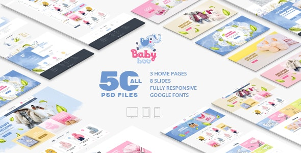 BabyBoo | Clothes, Shoes, Toys, Gifts Store | Сhildren & Babies | Fully Responsive | PSD template - Photoshop UI Templates