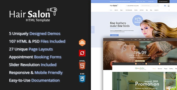 Hair Salon Html Template For Barber Shops Beauty Salons By Themesuite