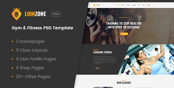 Lionzone | Gym & Fitness PSD Template - Health & Beauty Retail