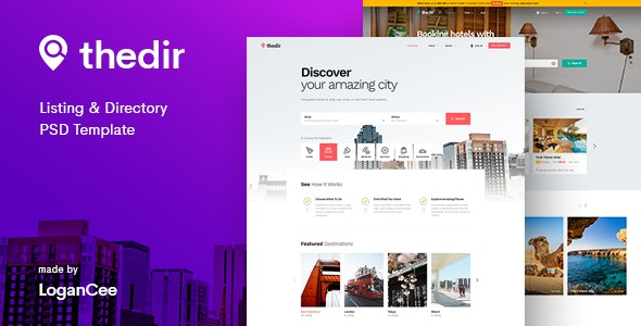 Thedir   Unlimited Listing & Directory PSD Template - Corporate Photoshop
