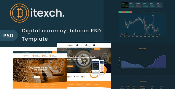 Digital Currency and Bitcoins PSD Template - Corporate Photoshop