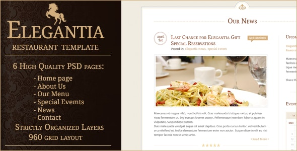 Elegantia Restaurant PSD Template - Restaurants & Cafes Entertainment