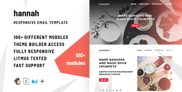 Hannah – 100+ Responsive Modules + StampReady, MailChimp and CampaignMonitor compatible files