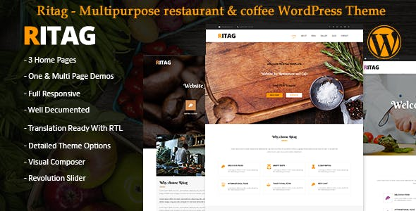 Food restaurant coffee pizza cafe WordPress Theme rtl