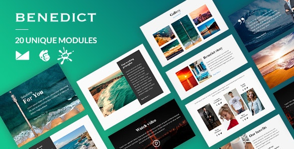 Benedict Email-Template + Online Builder - Newsletters Email Templates