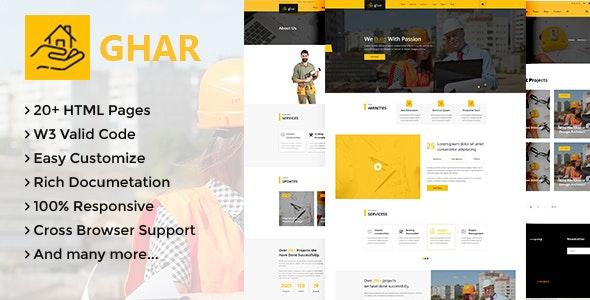 Ghar - Construction HTML Template - Corporate Site Templates