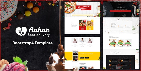 Aahar Food Delivery Service Bootstrap4 Template