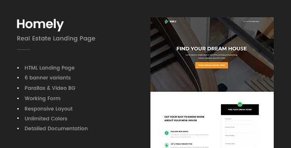 Homely - Real Estate Landing Page - Business Corporate