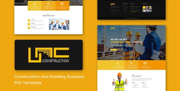 Unc Construction - Construction Business, Building Company PSD Template - Corporate Photoshop