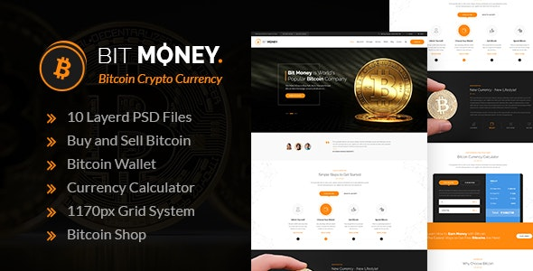 Bit Money - Bitcoin Crypto Currency PSD Template - Business Corporate