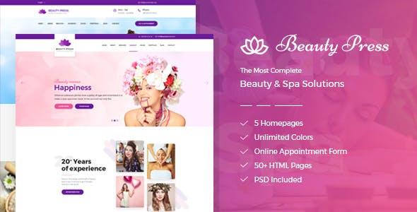 BeautyPress - Beauty Spa Salon Wellness Html Template