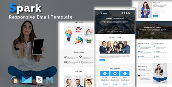 Spark - Multipurpose Responsive Email Template + Stamp Ready Builder Access - Email Templates Marketing
