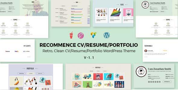 Recommence   Retro Resume WordPress Theme - Portfolio Creative