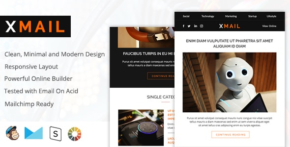 Xmail - Modern Email Design + Responsive + Drag and Drop Builder - Email Templates Marketing