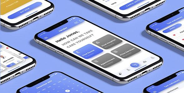 Healer - Mobile App UI Kit - Sketch UI Templates