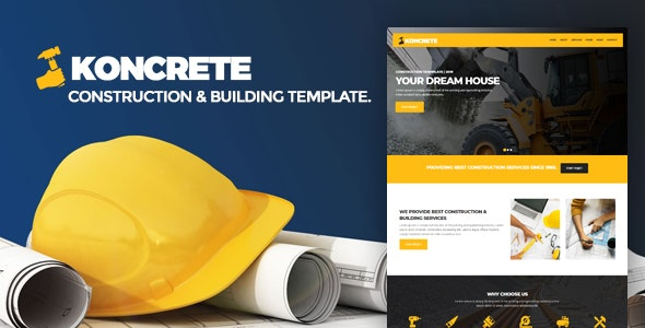 KONCRETE - Construction and Building HTML Template - Business Corporate