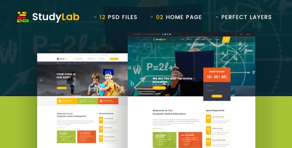 StudyLab - Kid & Online Education PSD Template - Business Corporate
