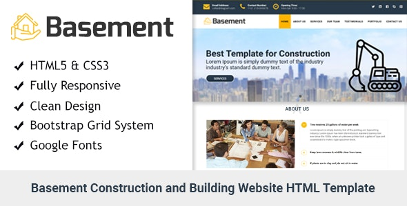 Basement- Construction and Building One Page HTML Template - Business Corporate