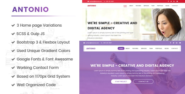 Antonio - One Page, Multipurpose HTML template built for performance - Corporate Site Templates