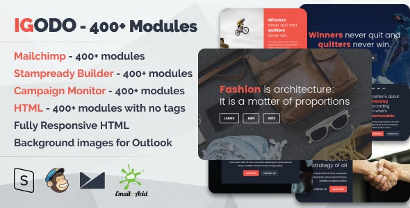 Igodo - Multipurpose Email Set with 400+ Modules + MailChimp Editor + StampReady + Online Builder - Newsletters Email Templates