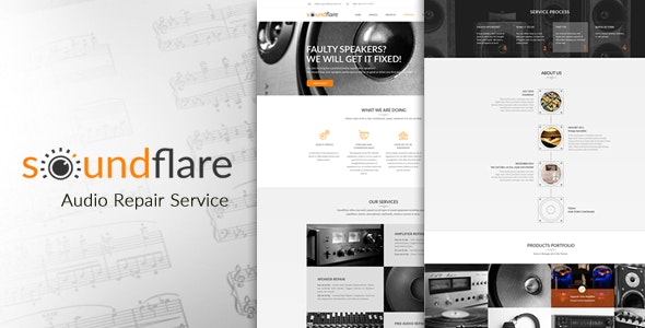 SoundFlare - Hi-Fi Audio Repair Service Landing Page HTML5 Template - Electronics Technology