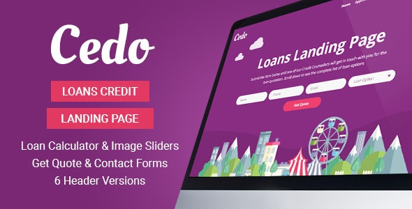 Cedo - Loans Credit Landing Page Template - Marketing Corporate