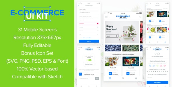 DesignUI E-Commerce Mobile App Ui Kit - Sketch UI Templates