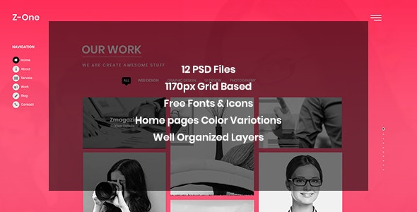 Z-One - Portfolio Fullpage PSD Template - Portfolio Creative