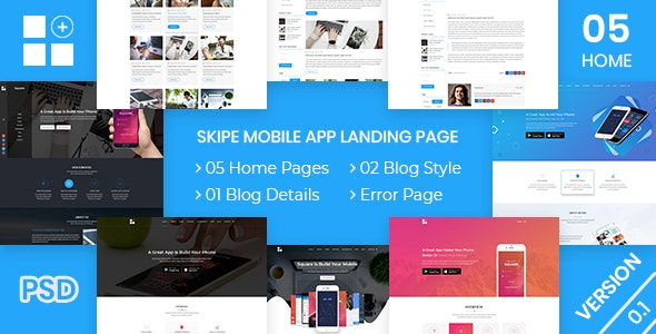 Skipe - Mobile App Landing Page PSD Template - Business Corporate