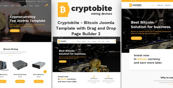 Cryptobite - Bitcoin Joomla Theme with Drag and Drop Builder - Joomla CMS Themes