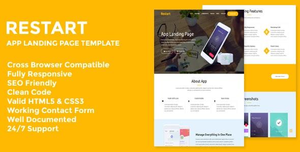 Restart - Responsive App Landing Page - Technology Site Templates